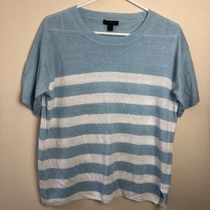 J Crew Size S Linen Striped Short Sleeve Shirt